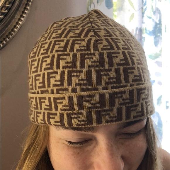 162428f538a Fendi brown tan monogram F print beanie hat